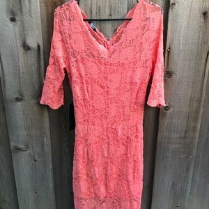 Bebe: 3/4 Sleeve Peach Lace Dress